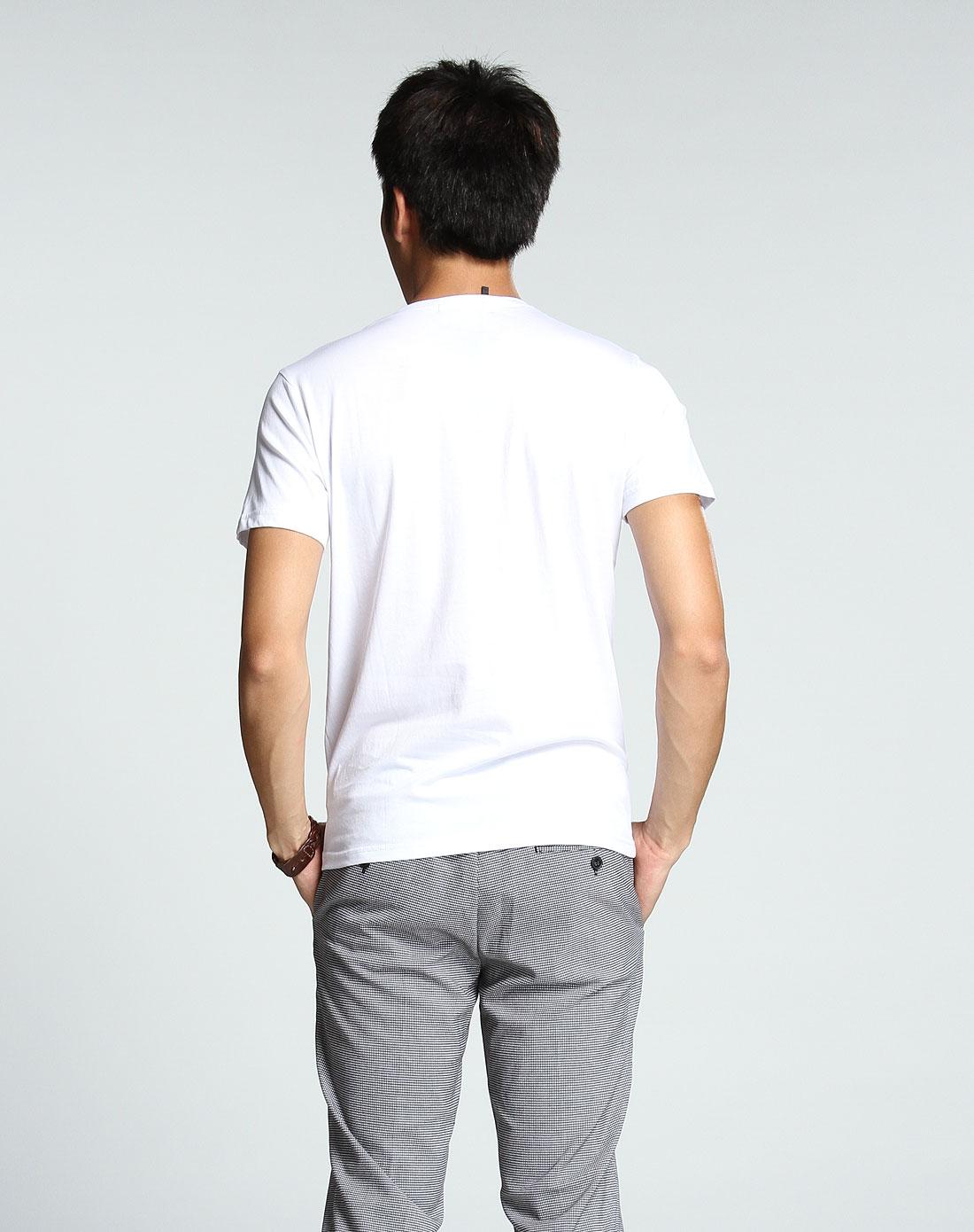 白色简约v领短袖t恤