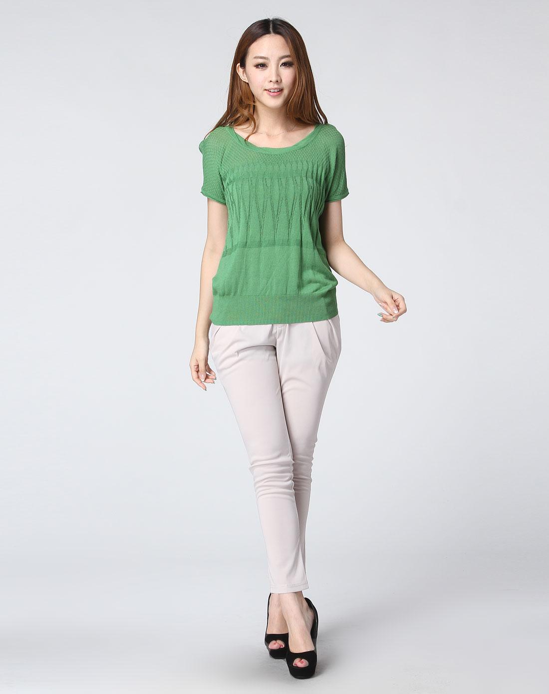 绿色简约圆领短袖针织衫