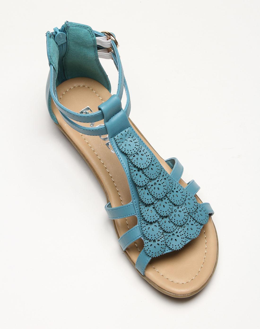 女款复古花纹后拉链蓝色凉鞋