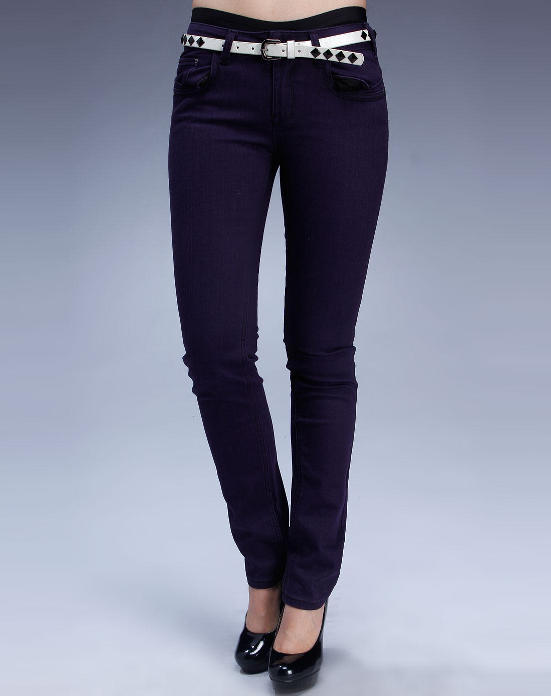 深紫色烫钻牛仔裤长裤