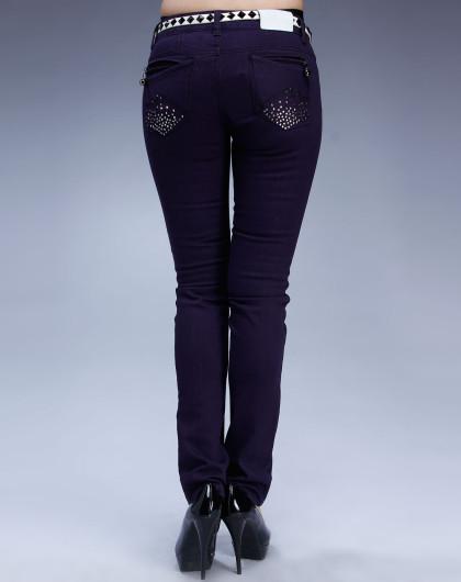 米可芭娜mikibana 深紫色烫钻牛仔裤长裤