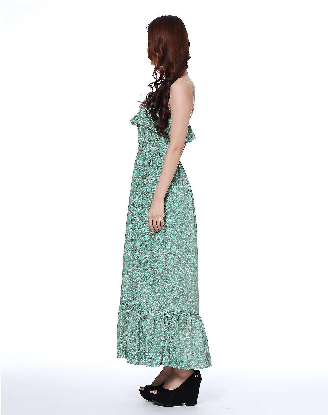 薄荷绿色花纹优雅吊带连衣长裙