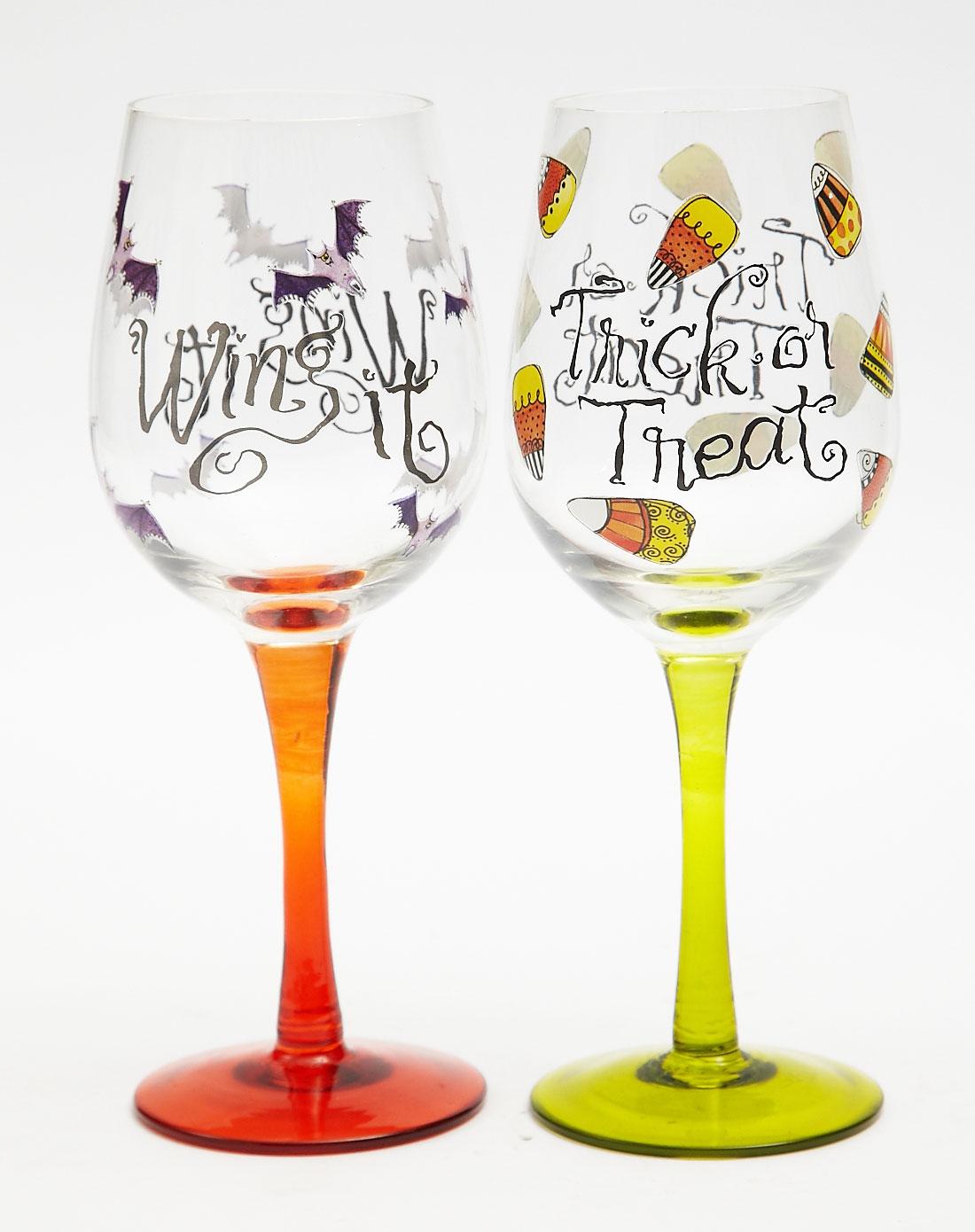 手绘玻璃红酒杯两件套(透明礼盒装)