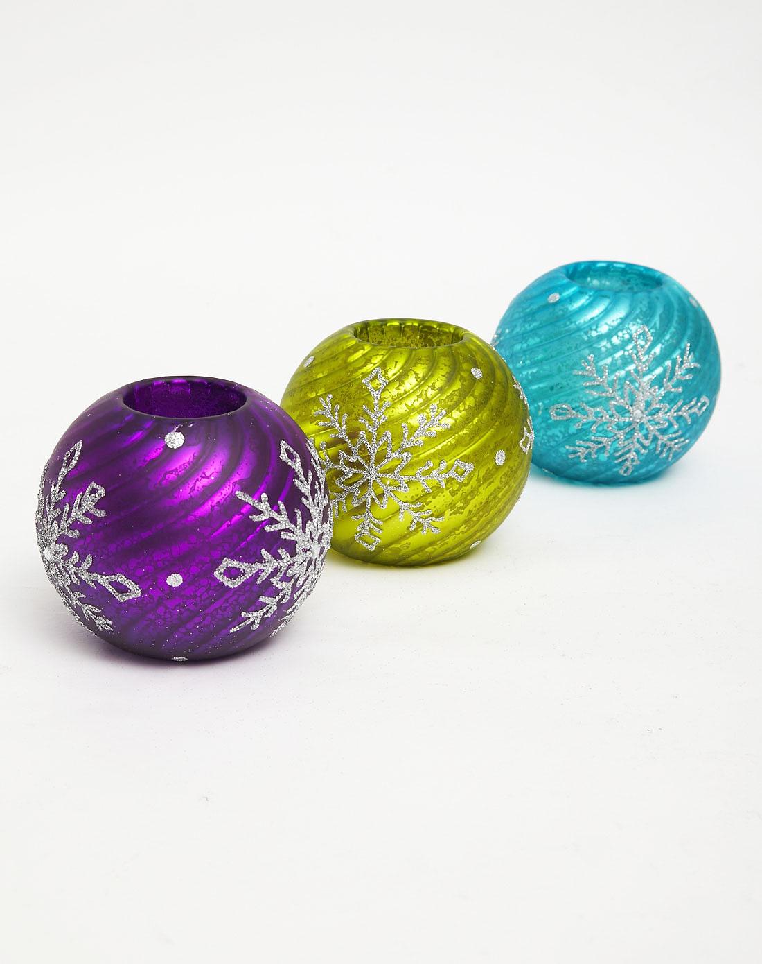 欧式炫彩玻璃烛台三件套(送led蜡烛)