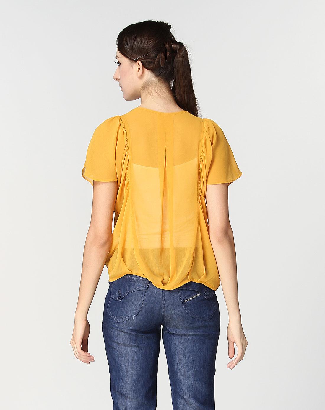 典雅性感半透明皱褶黄色短袖上衣