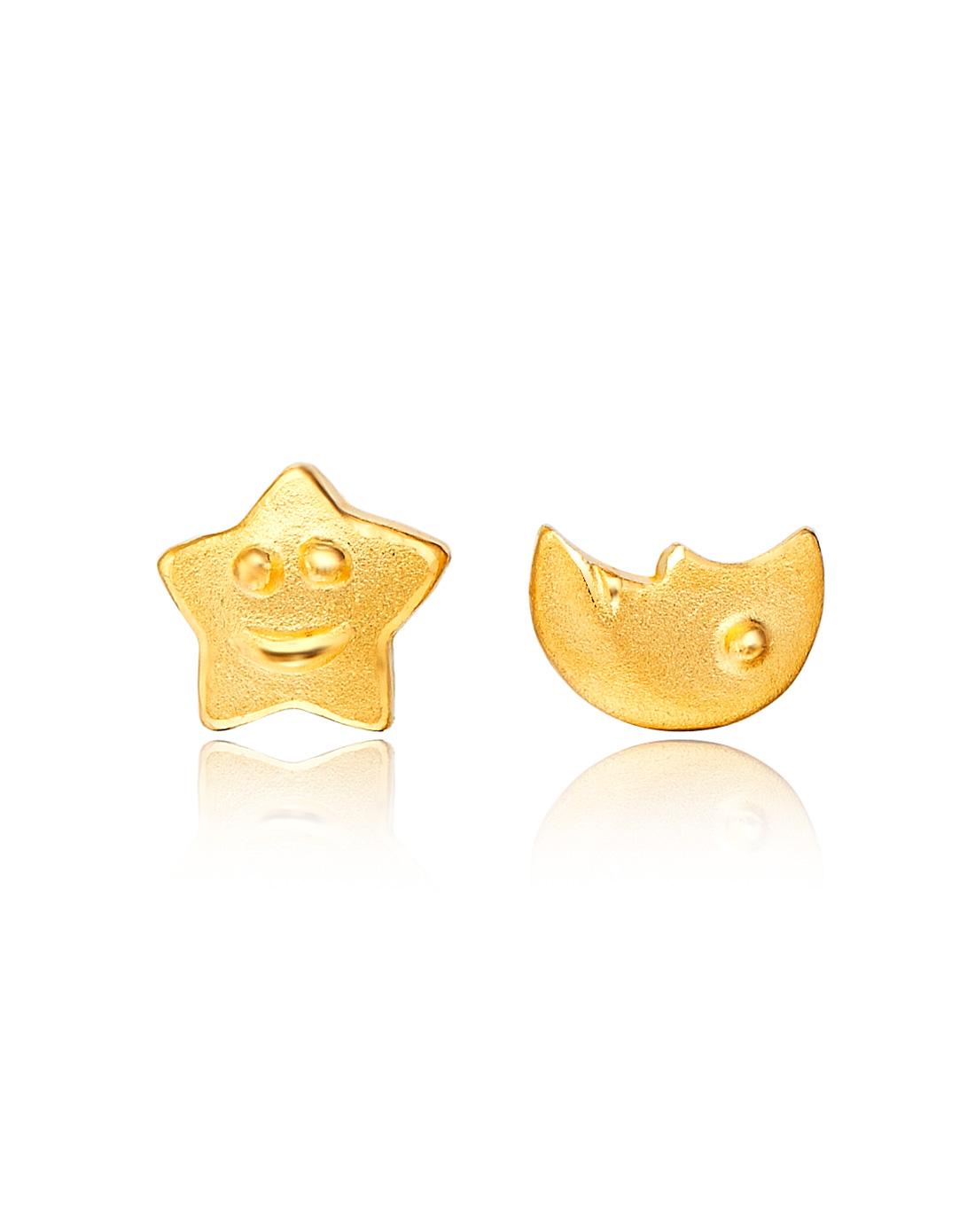 fook珠宝星星月亮黄金耳钉f40286