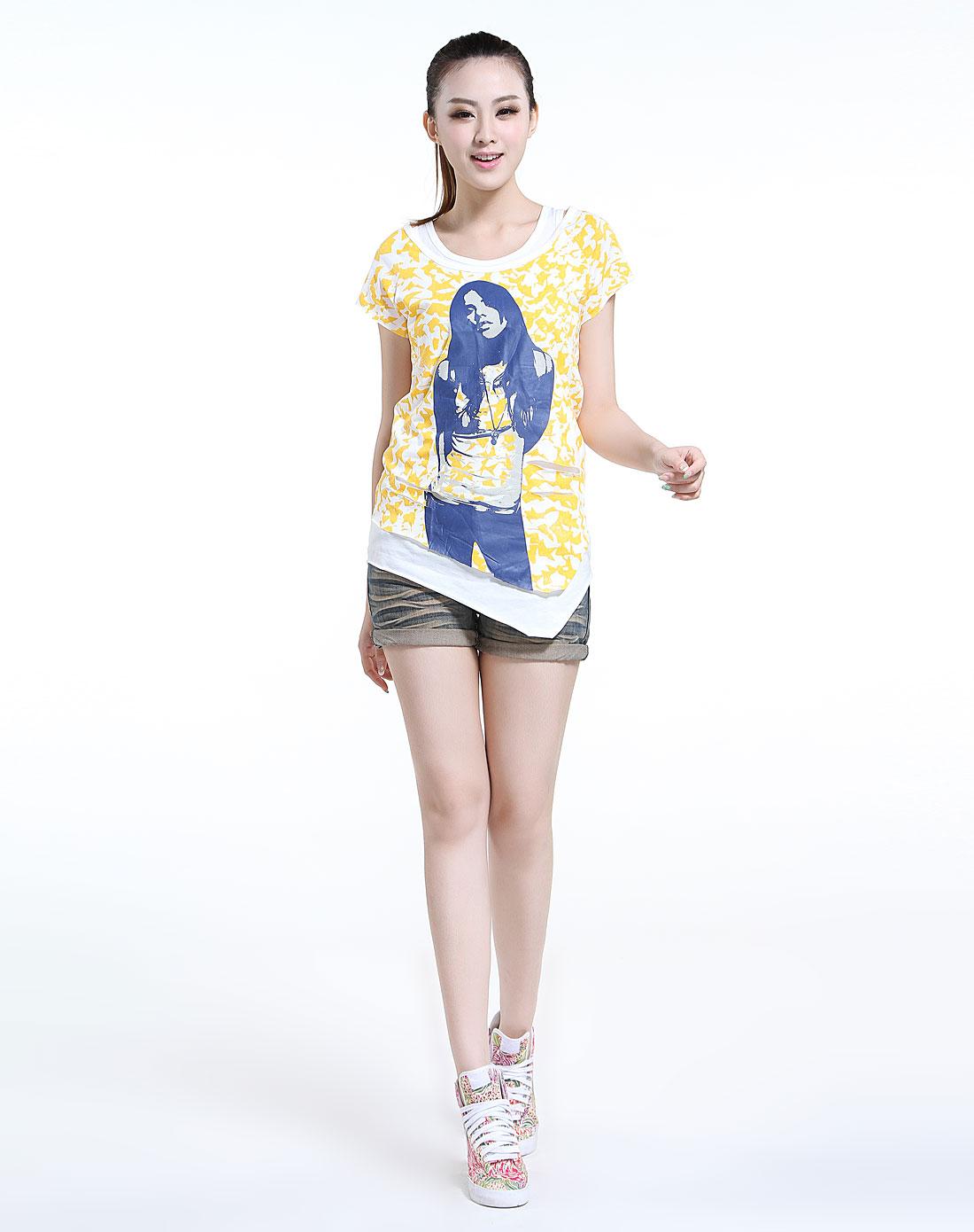 白底姜黄色印花人物图案时尚短袖t恤两件套