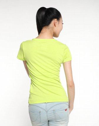 女子荧光绿短袖t恤