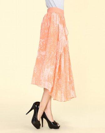 橙色花纹时尚长裙
