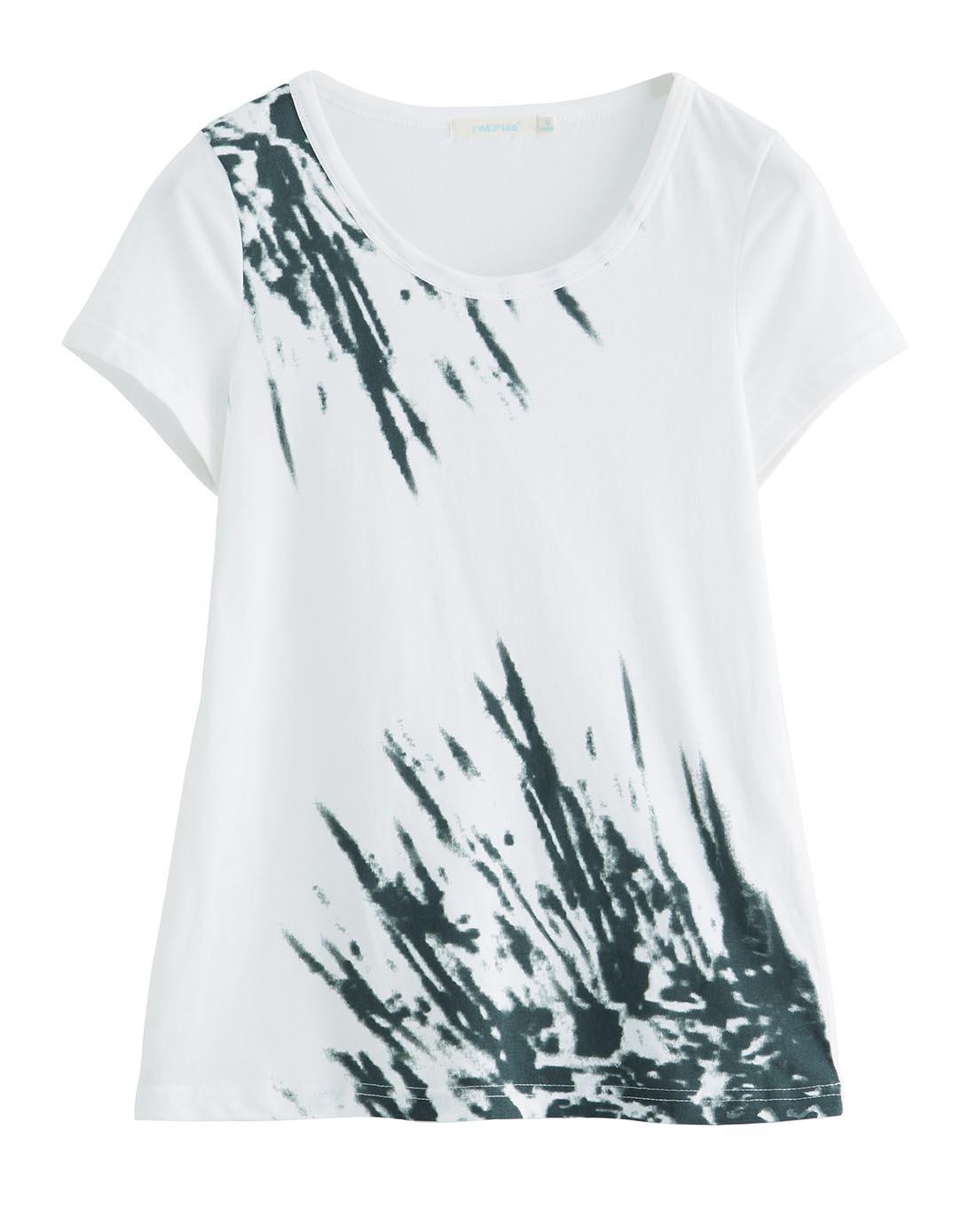 象牙白抽象水墨印花t恤