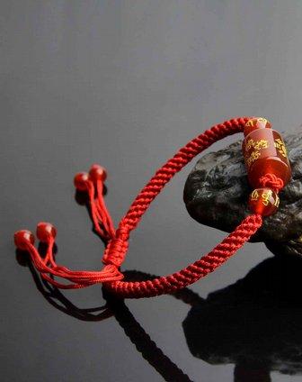天然红玛瑙手工编绳转运手链(附证书))
