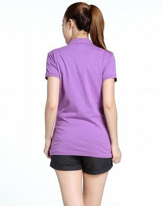 女子紫色简约纯色短袖polo