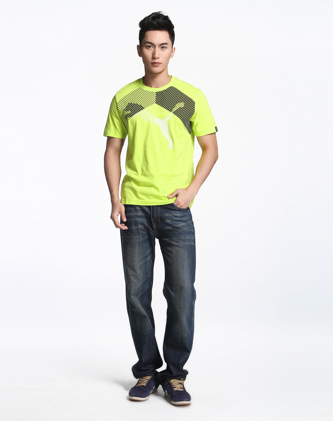 荧光绿色印花短袖t恤