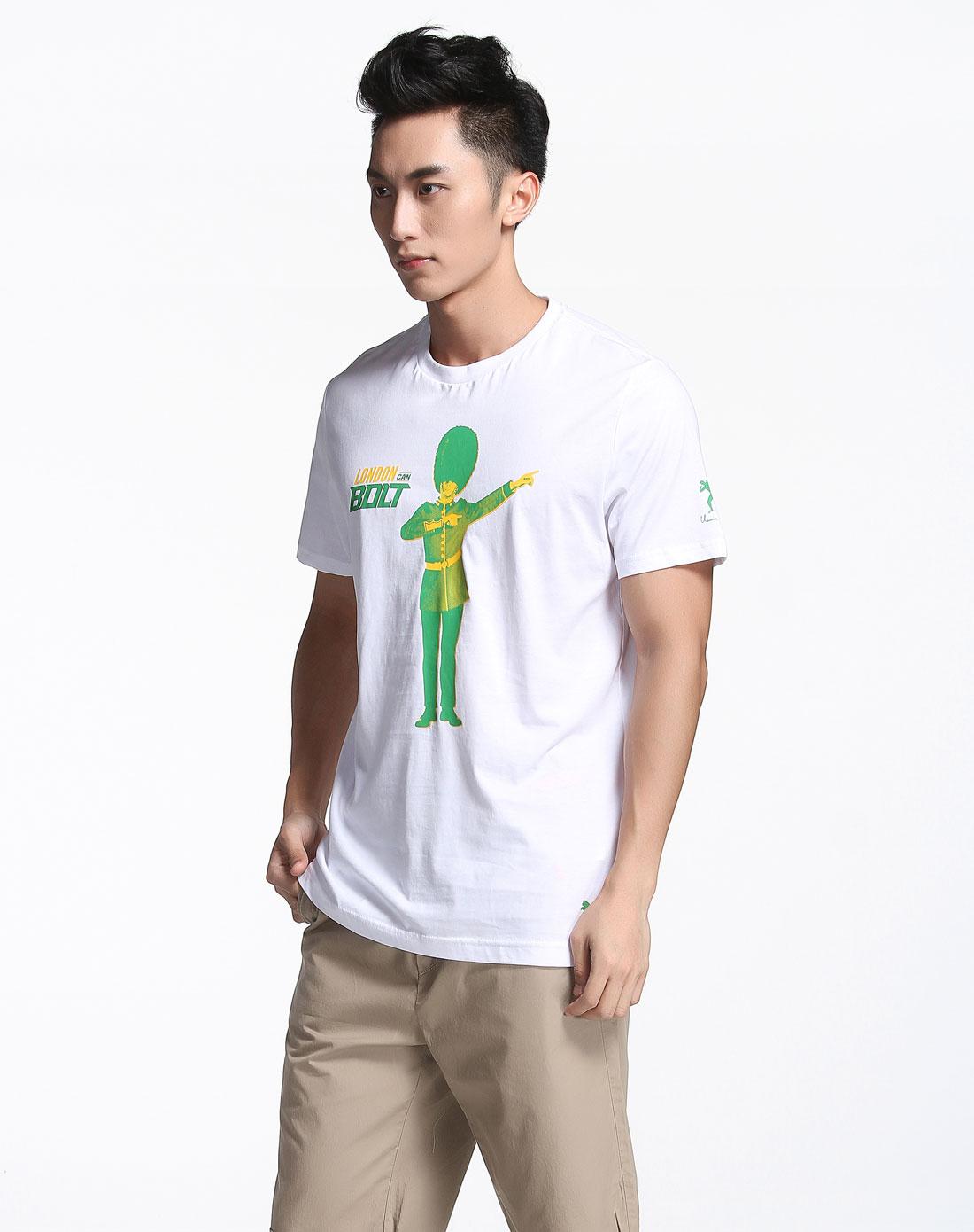 人物印图白色短袖t恤