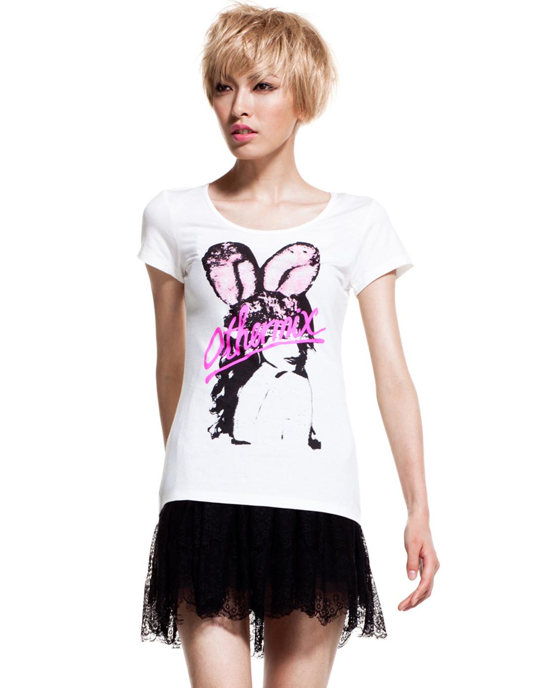 女款白色兔女郎t恤
