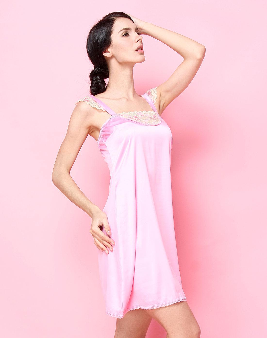 爱慕旗下年轻品牌男女内衣专场-爱美丽 女款深粉红色舒适绣花边吊带睡