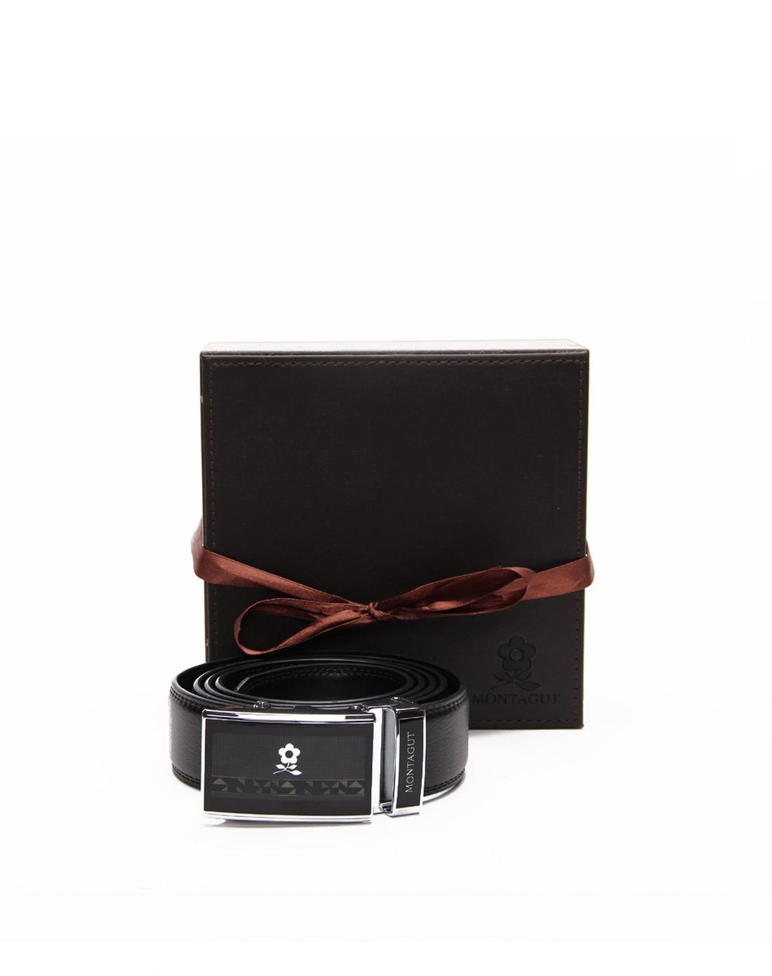 梦特娇montagut男款黑色传统商务皮腰带mfc31551201d