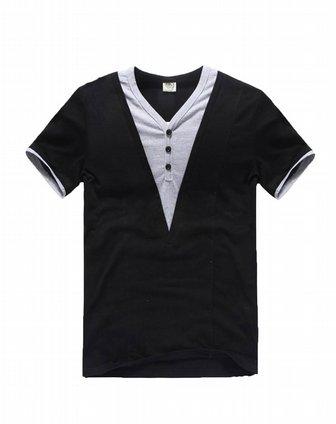 黑色帅气假两件短袖t恤