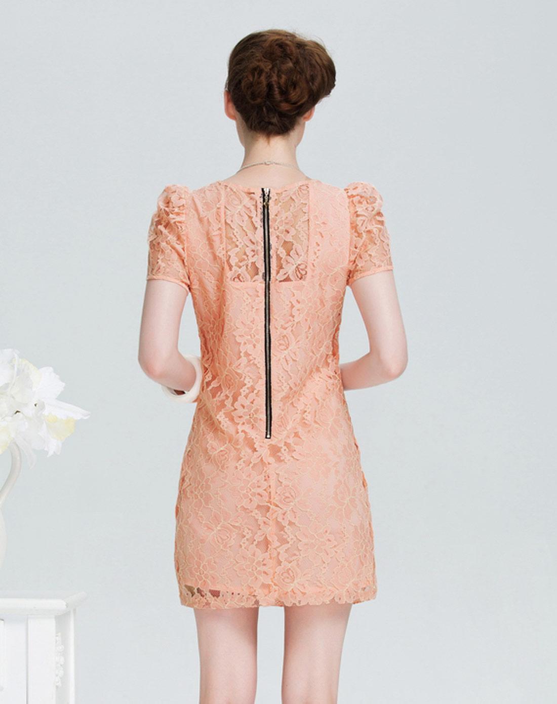 泡泡袖雪纺裙