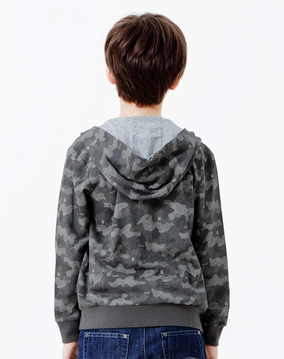 男童灰手绘迷彩花连帽开衫针织外套