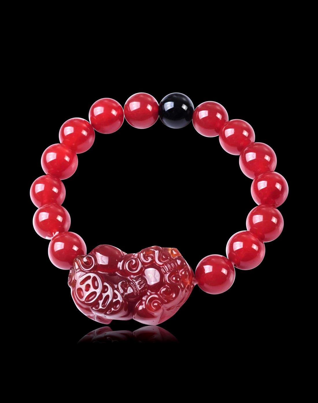 女款红玛瑙配貔貅黑玛圆珠手链(附证书)