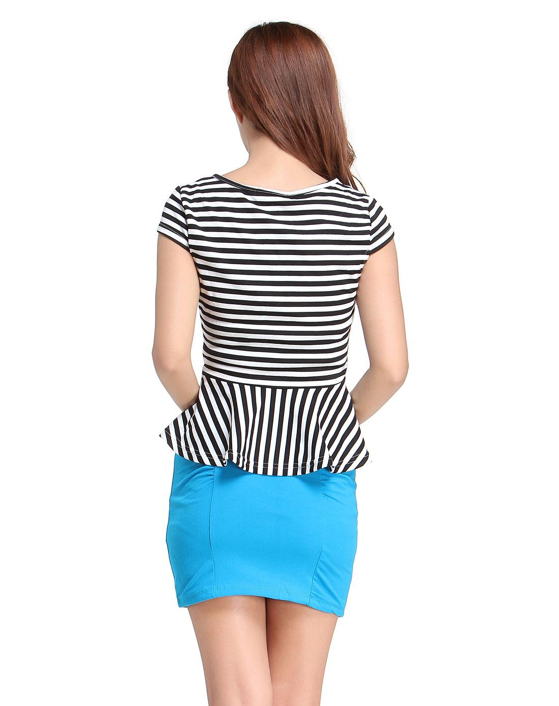 黑/白色横条时尚短袖上衣