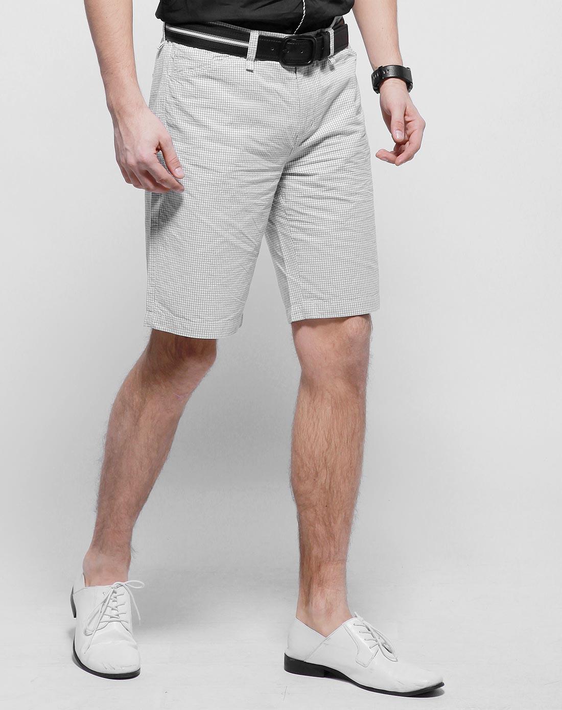 gxg 休闲时尚灰白格子男士短裤夏装