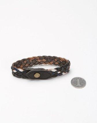 编织时尚黑色皮手环