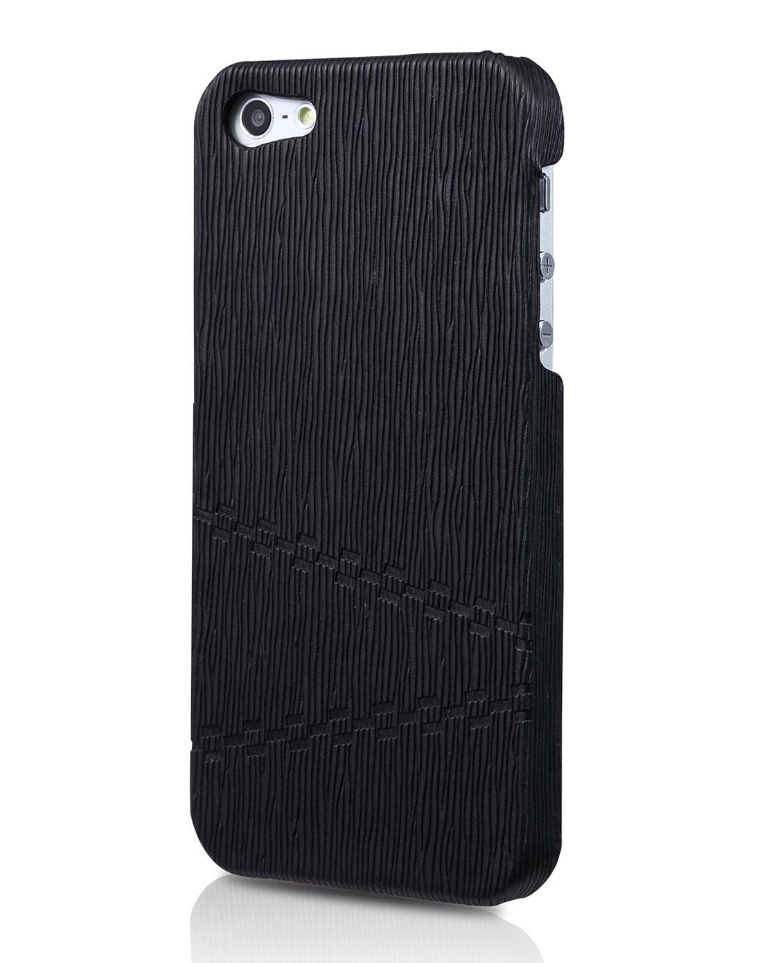 iphone5 时尚纹理贴皮手机壳 黑色