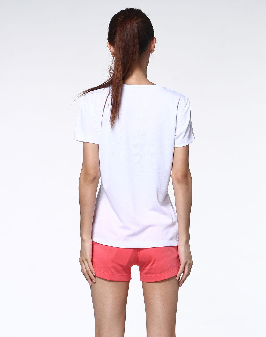 女款白色简约运动v领短袖t恤