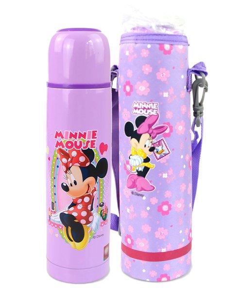 迪士尼 女童紫色480ml米奇卡通休闲不锈钢保温杯(带杯