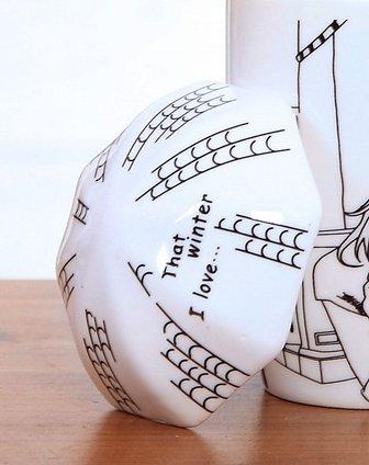 手绘漫画风陶瓷马克杯-拍照