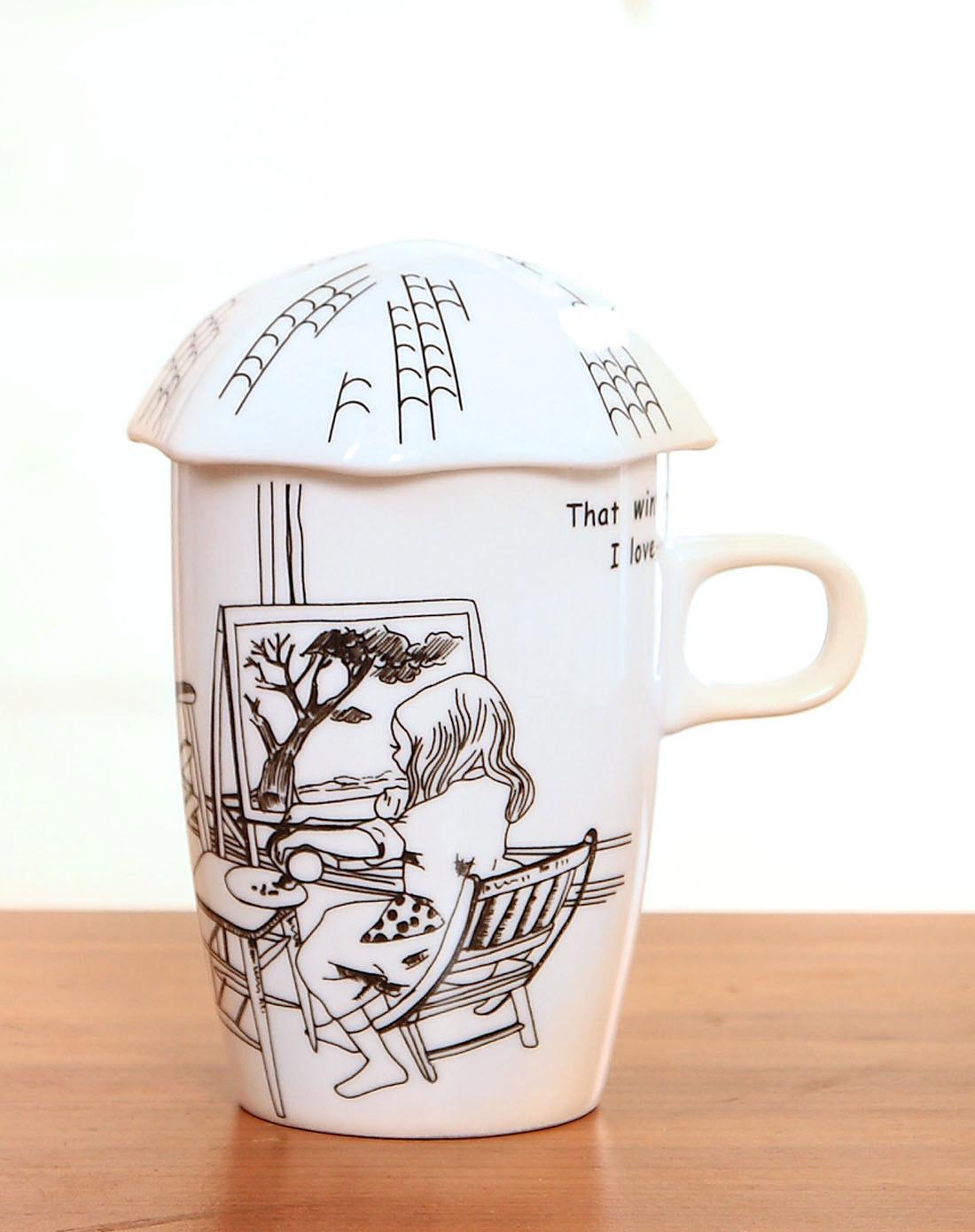手绘漫画风陶瓷马克杯-画树女孩