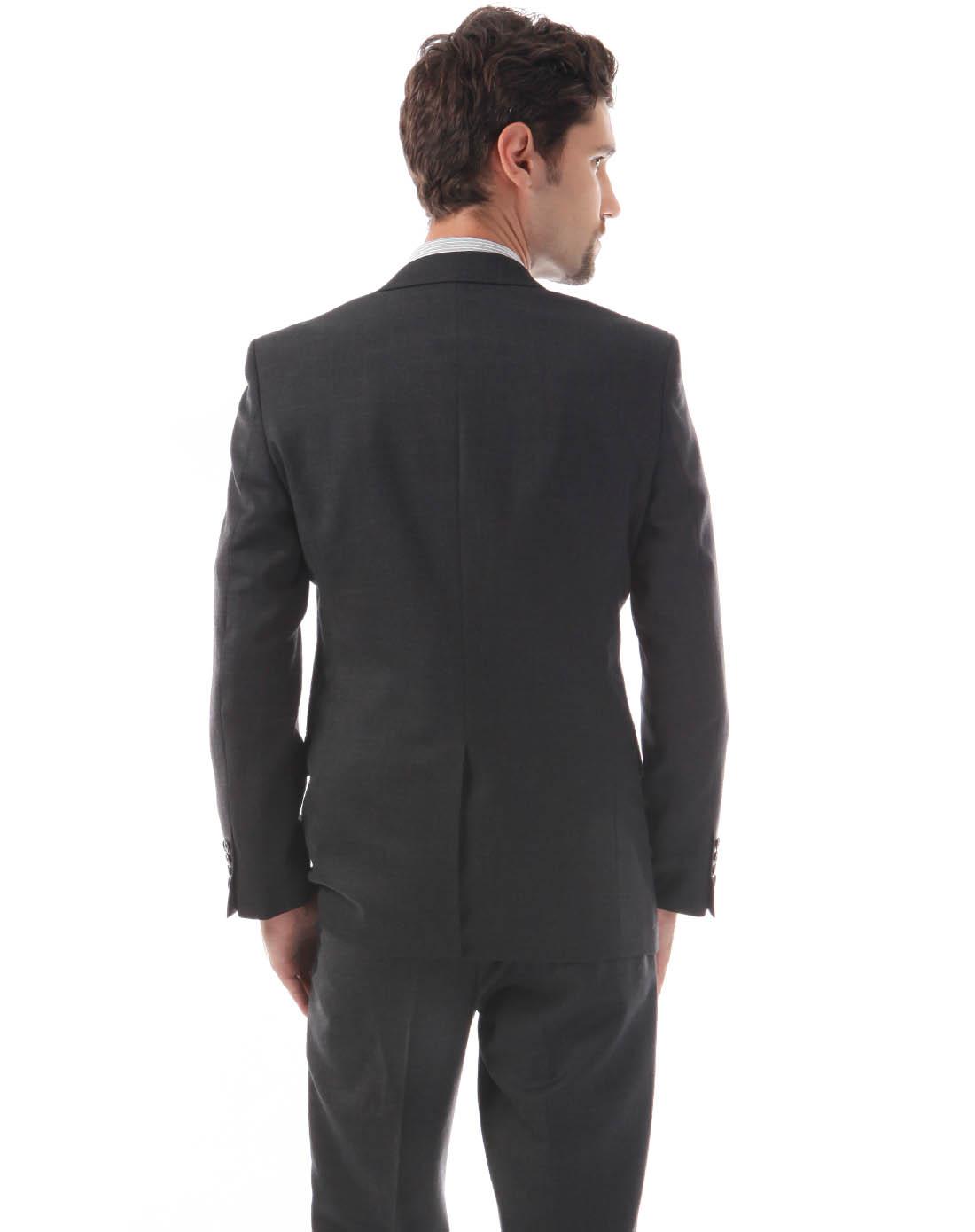 男士炭灰色商务正装纯色西服