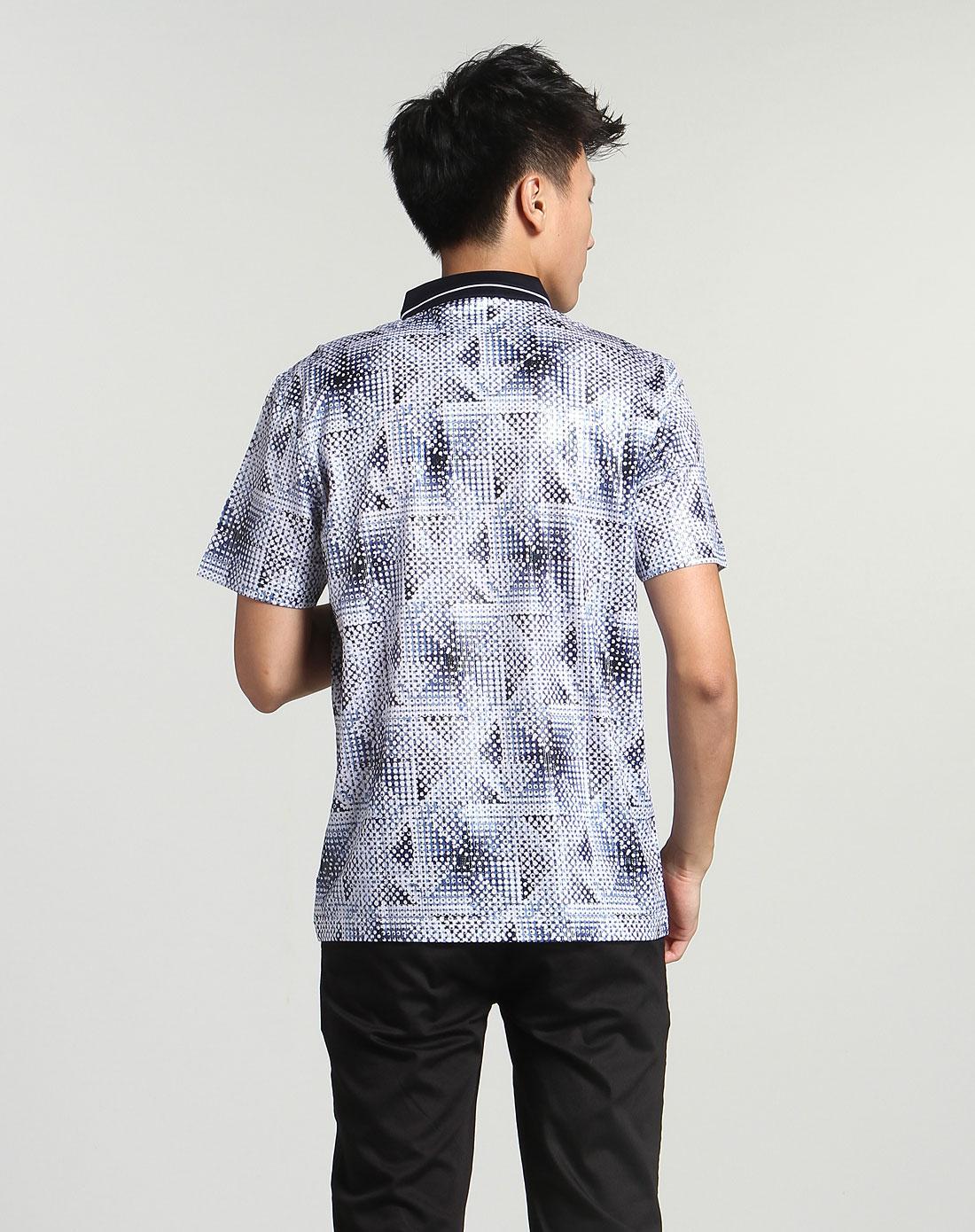 海螺男款圆圈印花图案黑白蓝色短袖t恤513201-71915