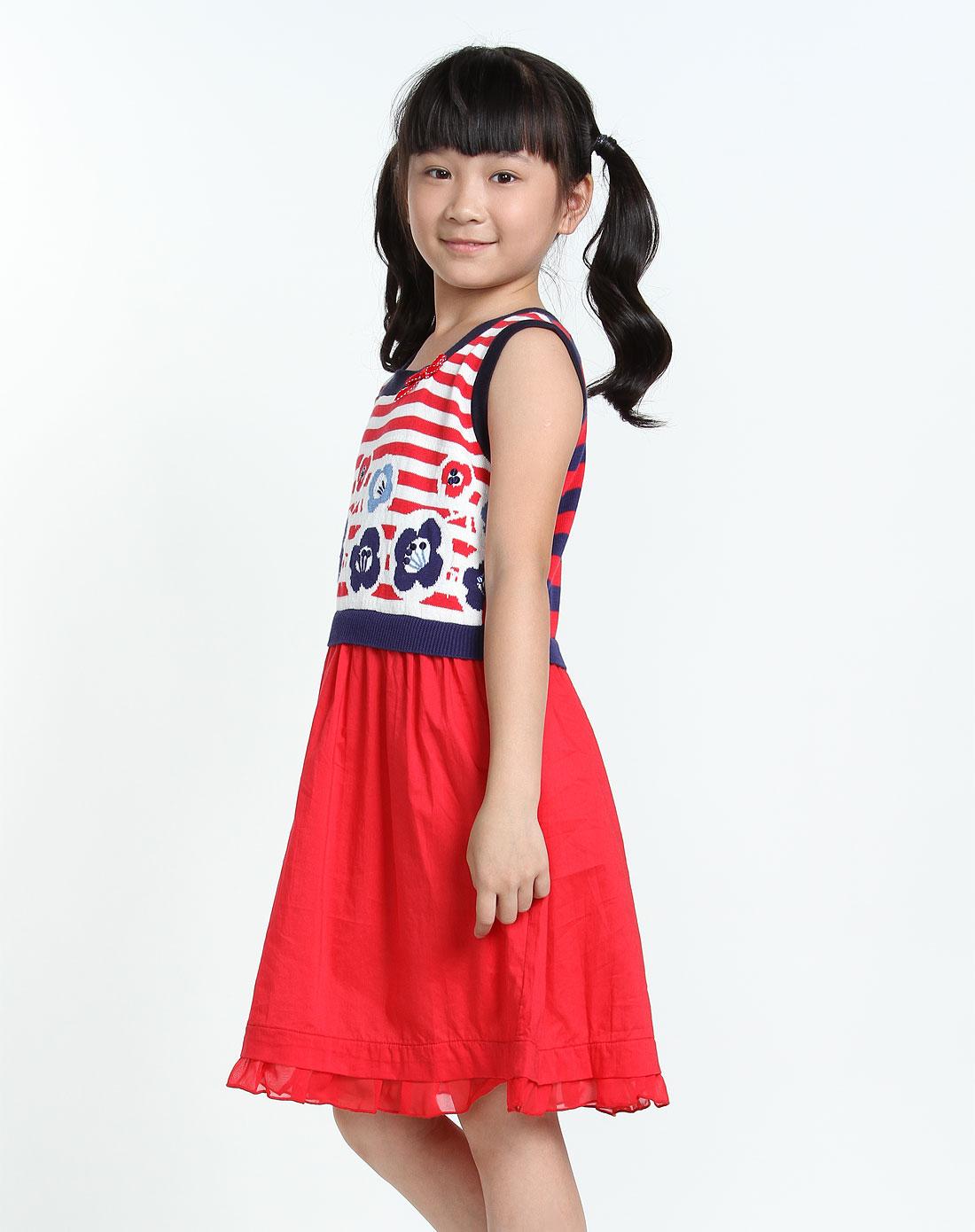女童红色针织休闲服装