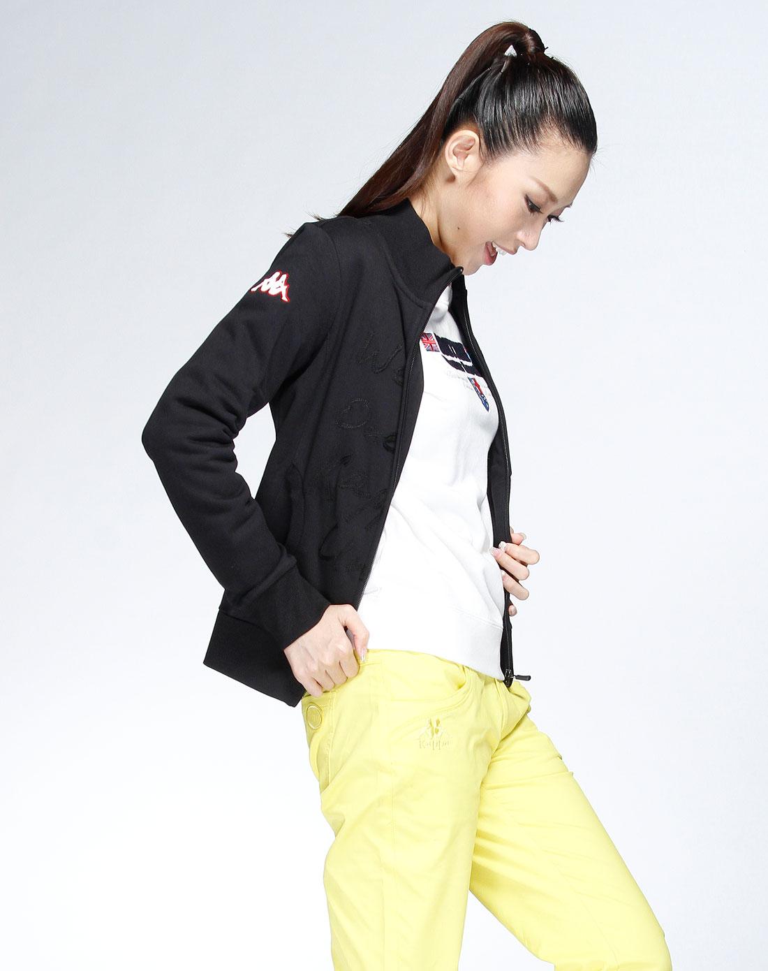 卡帕kappa 黑色时尚长袖拉链外套