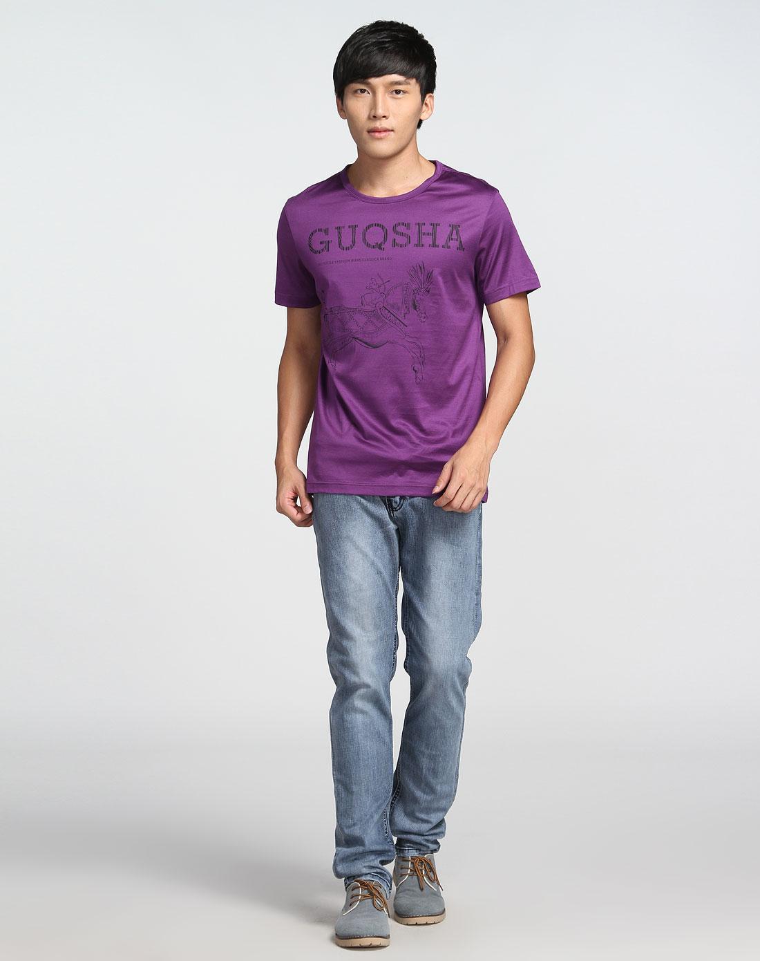圆领印马图案紫色短袖t恤