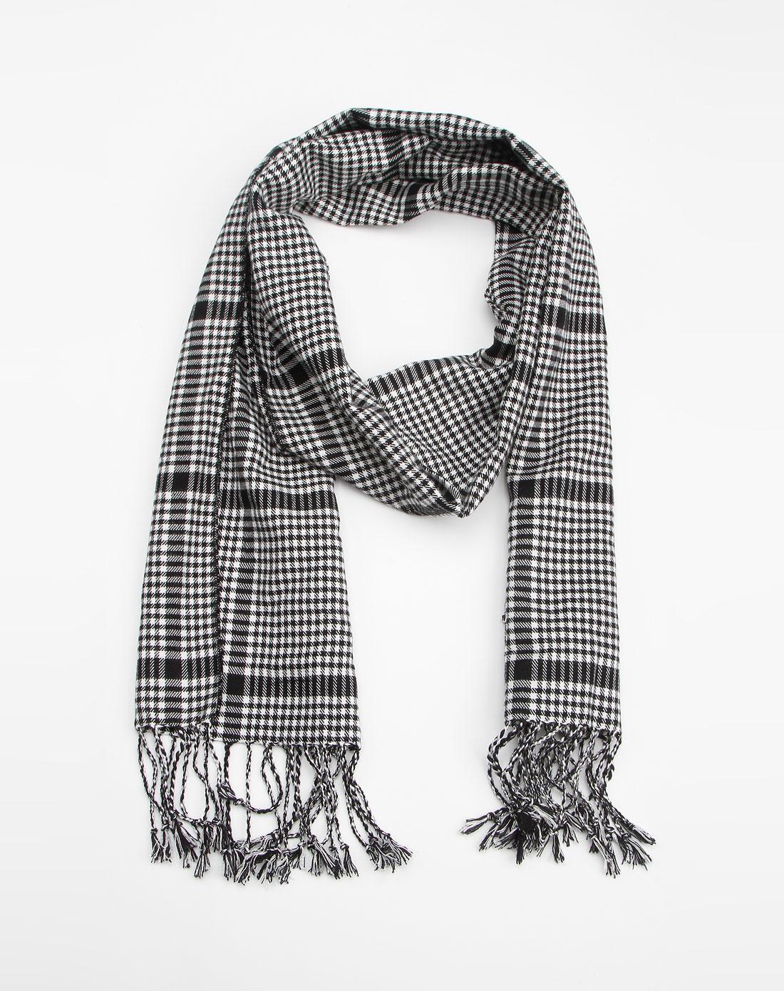 黑白小格子围巾