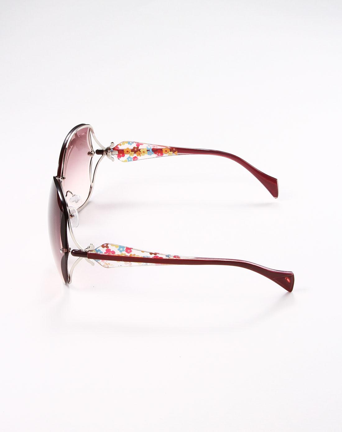 时尚可爱花纹图案边框浅棕色太阳眼镜