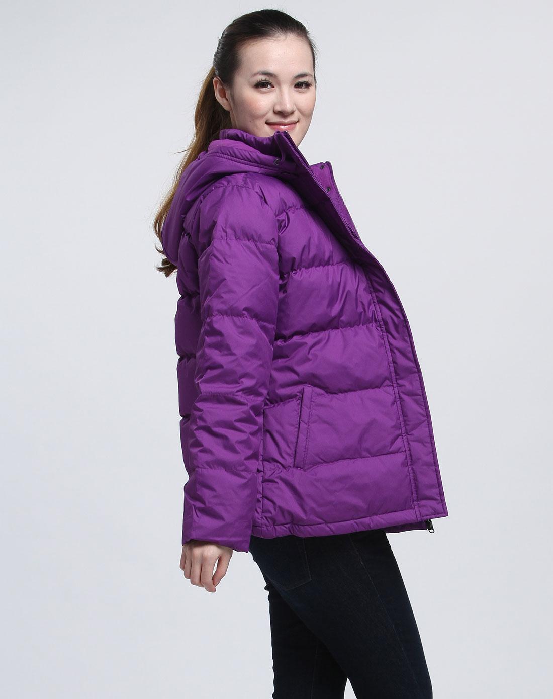 无袖深时尚长袖条纹羽绒服彩虹紫色女款连衣裙图片