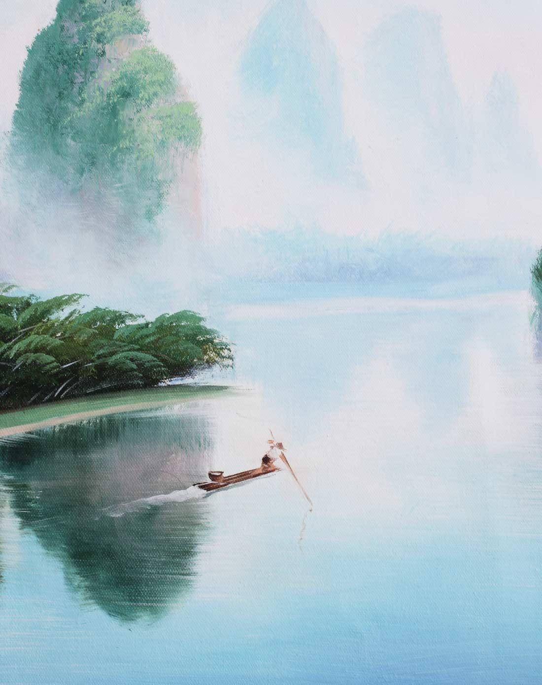 纯手绘油画画芯-桂林山水