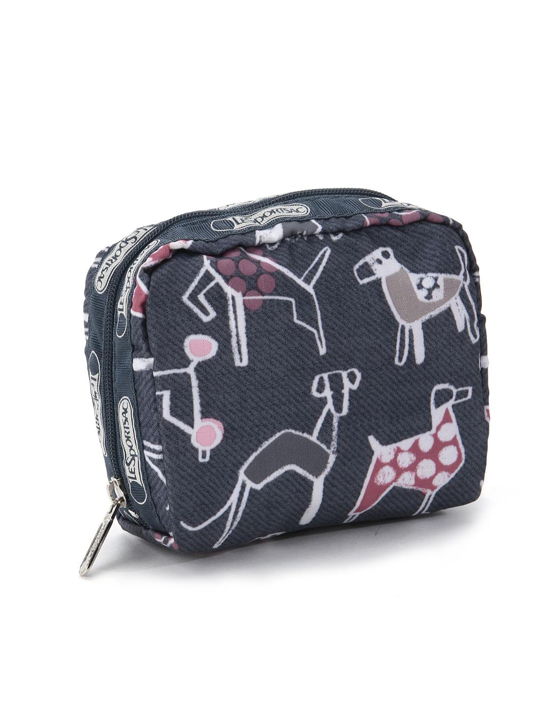 灰蓝色抽象动物图案印花化妆包