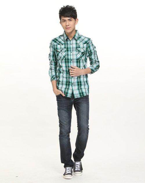 森马男装专场绿/白色格子休闲长袖衬衫; 图片图片