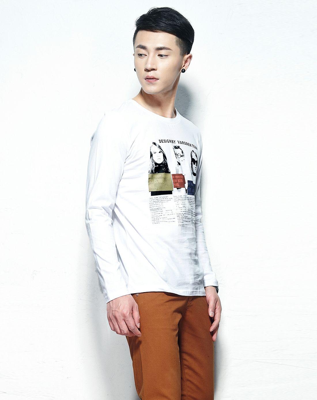 男款白色时尚小孩头像圆领长袖t恤