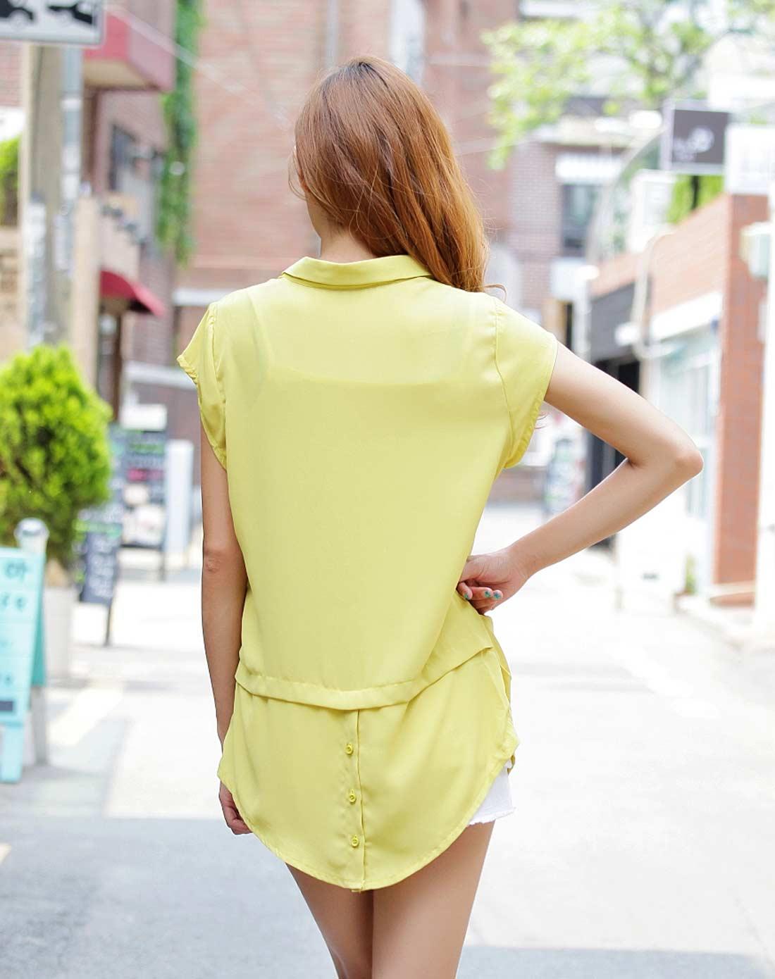 雪纺衫无袖黄色