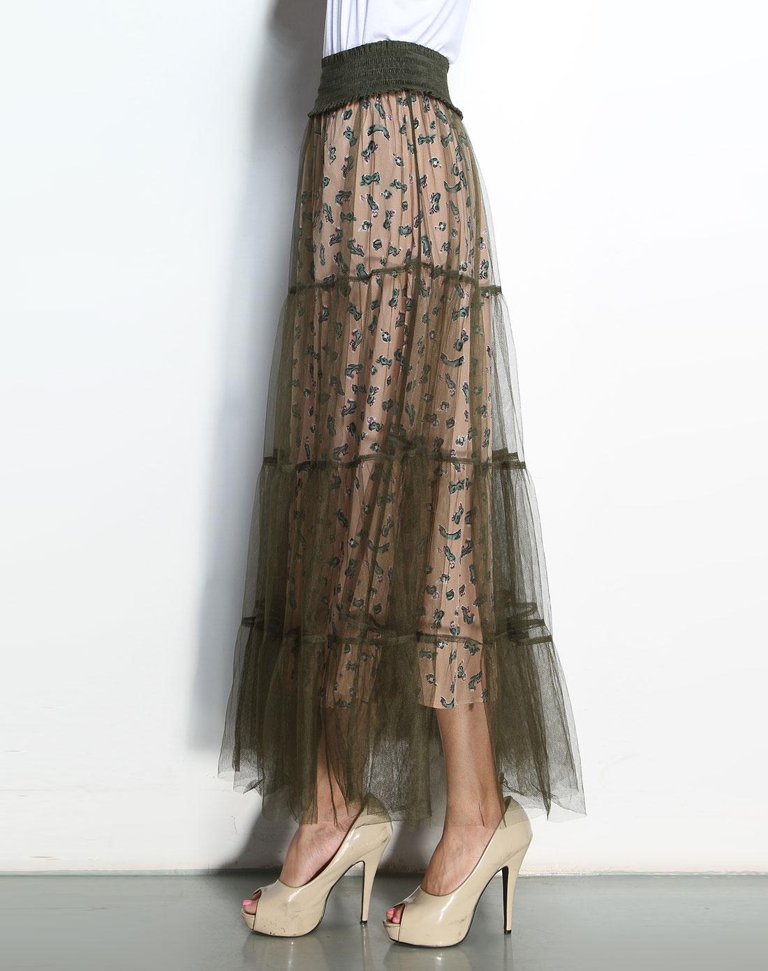橄榄绿色薄纱拼花纹时尚长裙