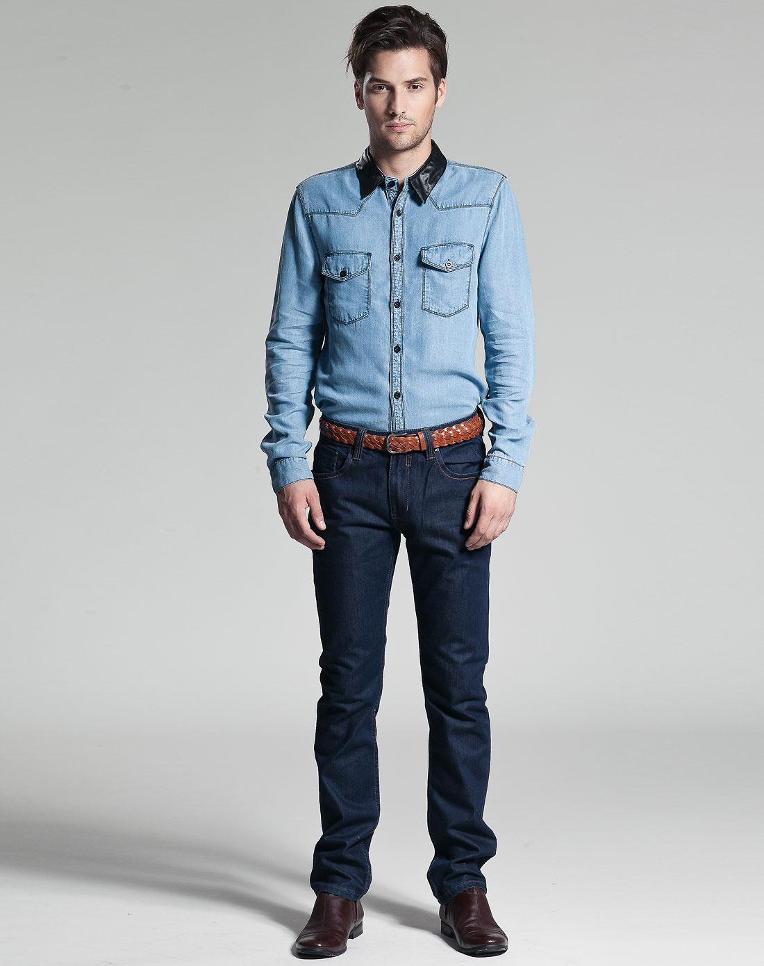 男士中牛仔蓝衬衫