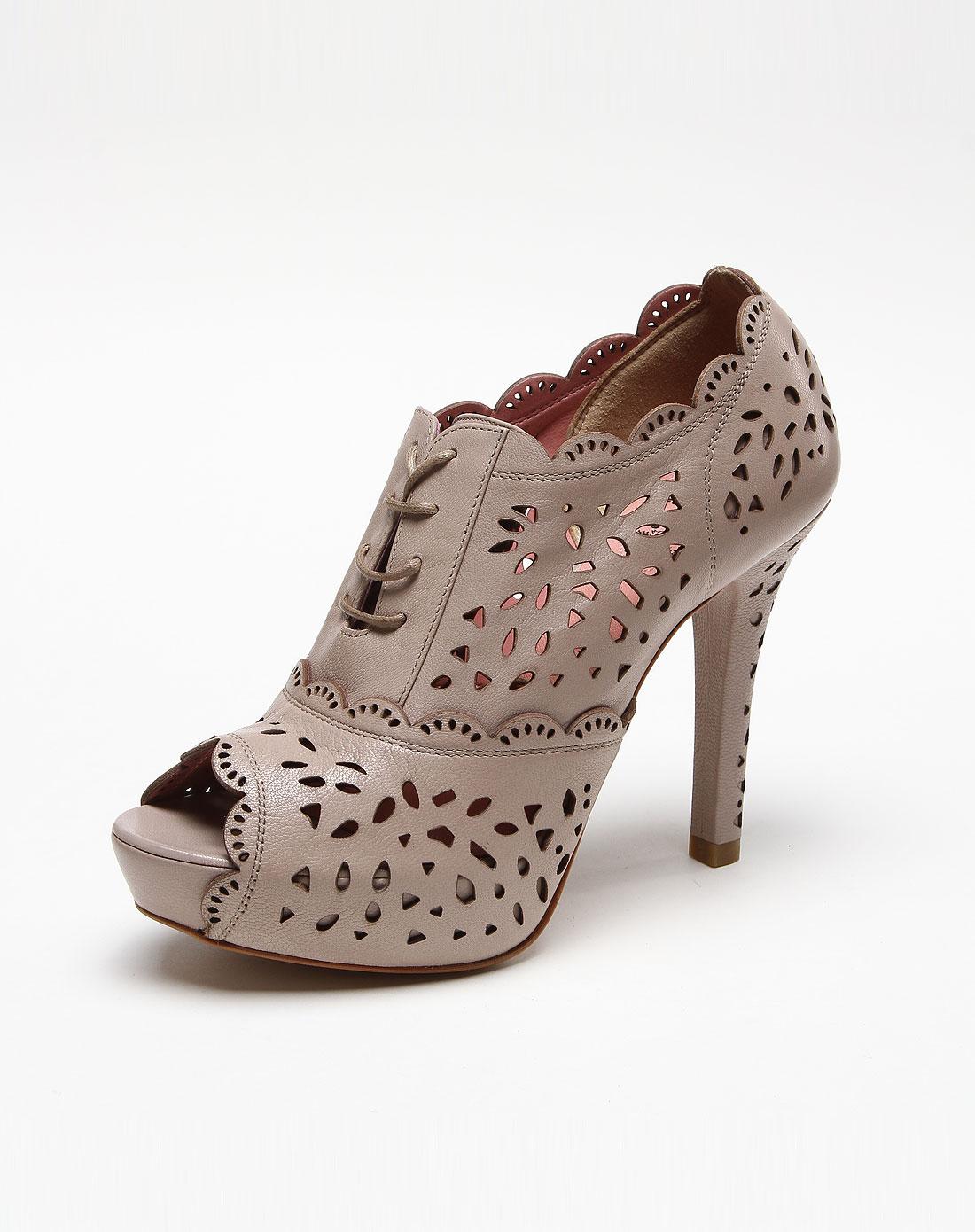 镂空花纹灰色绑带高跟凉鞋