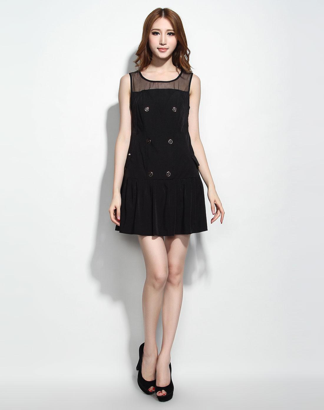 无袖跺(h��ފ9_黑色无袖连衣裙